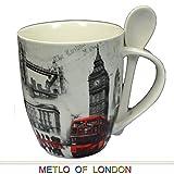 Vieja Escena Juego de taza y cuchara de Collage de Londres