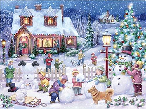 5D DIY Diamante Pintura Año nuevo escena Mosaico Punto de cruz Taladro completo Diamante Bordado niños pila Muñeco de nieve decoración del hogar