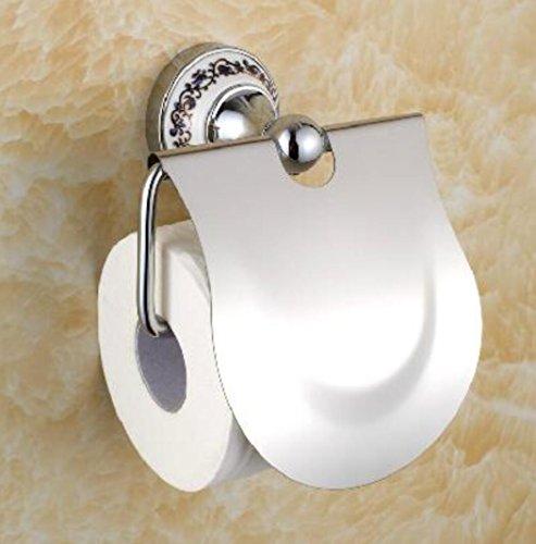 USDFJN Toilettenpapierhalter Wandhalter für Badzimmer WC Papierhalter Euro - Continental im Retro-Stil mit Abdeckung aus Edelstahl Silber Porzellan