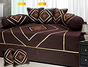 Stop N Shopp Cotton Designer Embroidered Divan Sets of 1 Bed Sheet(70 X 100 inches),2 Bolster Cover (Size_16 X 32 inches) and 5 Cushion Cover (Size_16 X 16 inches)