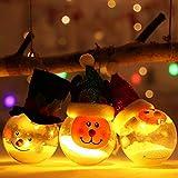 MSQL Beleuchtete Weihnachtskugel-Verzierung, 3 Stück PVC-Christbaumkugel-Dekoration, Weihnachtscharakter für Familienfest-Dekoration