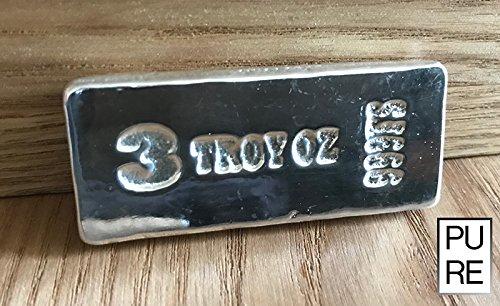 3OZT Silber Edelstahldraht handgegossen Bar