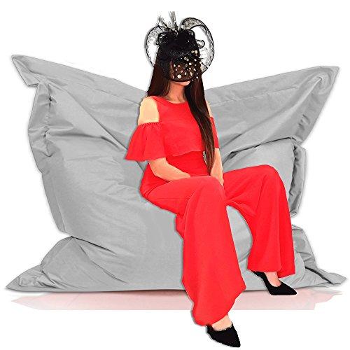 Sitzsack Sessel Riesensitzsack XXL 180 x 145 cm mit Füllung - für Erwachsene und Kinder - In & Outdoor Sitzsäcke Kissen Sofa Hocker Sitzkissen Bodenkissen (ca. 180 x 145 cm, Grau)