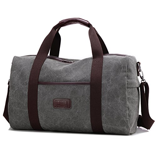 TEAMEN Weekender Bag Reisetasche TEAMEN Sporttasche Handtasche Canvas PU Leder Tasche Umhängetasche Schultertasche Henkeltasche 20L für Einkaufen Reisen Arbeit und Schule (grau)