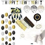 73-teiliges * SILVESTER * Deko Set zur Dekoration für eine tolle Silvesterparty mit Girlande + Tischdecke + Luftballons + Folienballon + Luftschlangen + Stringdeko + Konfetti // Neujahr Happy New