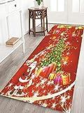 LYHO Kreative Weihnachtsbaum Fußmatte Badezimmer Bereich Teppich Bodenmatte Bad Teppiche Saugfähigen Rutschfesten Teppich für Küche Schlafzimmer Badezimmer Flur
