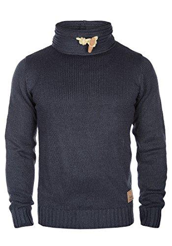 SOLID Pizi Herren Strickpullover Tube aus hochwertiger Baumwoll-Mischung mit Stehkragen Insignia Blue Melange (8991)