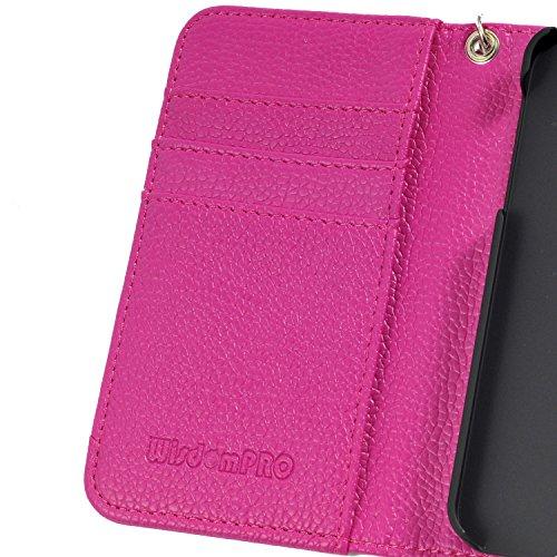 iPhone 6s / 6 Hülle, Wisdompro® Premium PU-Leder 2-in-1 [Folio Flip Wallet] Schutzhülle mit Kreditkartenhaltern / Steckfächern und Handgelenkschlaufe für Apple 4,7 Zoll iPhone 6s / 6 (Schwarz mit Trag Hot Pink mit Trageschlaufe