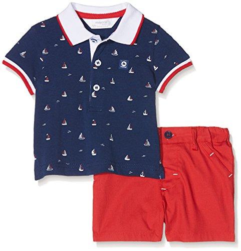 Mayoral 1228, Conjunto de Ropa para Bebés, Multicolor (Navy / Red 31), One Size (Tamaño del fabricante:6-9)