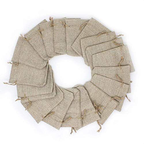 KEESIN 20 Stück Sackleinen Lavendel Sachet Drawstring Beutel Flachs Baumwolle Schmuck Beutel Bag Wedding Favor Geschenkverpackung 3.6 * 4.7 inches (20 Stück)