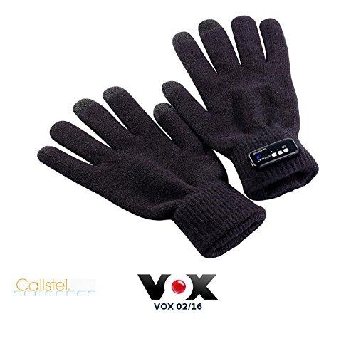 Callstel Mobiltelefon-Handschuhe: Freisprech-Handschuh Polyester mit Bluetooth, 1 Paar in Herrengröße (schwarze Bluetooth-Handschuhe)