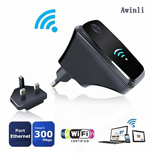 Price comparison product image awinli Wifi Router Wireless Repeater Long Range Extender Amplifier Wireless-N Mini router AP Access Point 2.4GHz Network Signal Booster Full Coverage Router Built-in Antenne With WPS(300M)