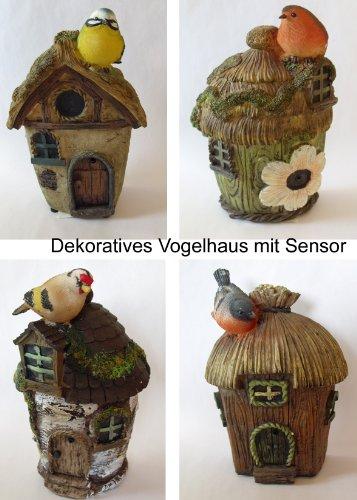 1x DEKO Vogelhaus m. SENSOR Vogelhäuschen, Futterhaus, Nistkasten, Vogelvilla, Brutkasten