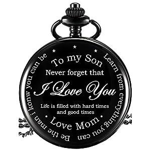 Taschenuhr – to My Son Gifts – Mutter Sohn Geschenke, Geburtstag Graduierung Geschenk, Kindertag, Geschenk-Box