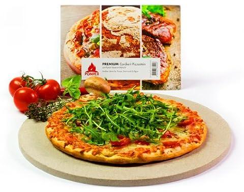 Pompeji Pizzastein - Brotbackbackstein für Backofen und Grill | Rund Ø 32cm | Cordierit Keramik zertifiziert lebensmittelecht aus Frankreich