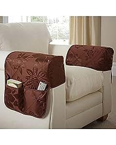 Pair Of Arm Caps Primrose Chocolate Quilted Furniture