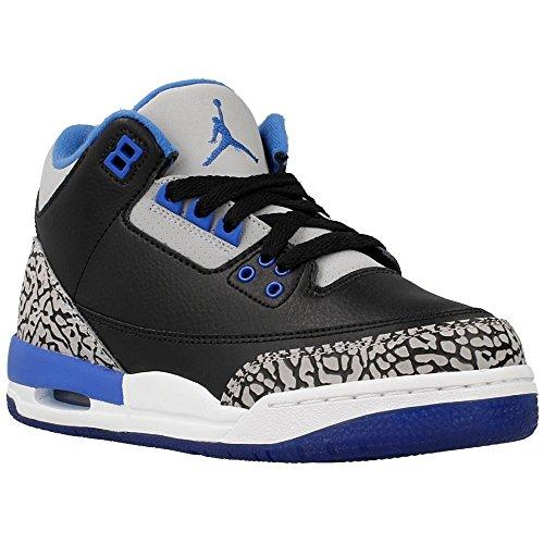 Nike Jungen Air Jordan 3 Retro BG Turnschuhe, (Schwarz/Sport Blau-Grauer Wolf), 38 EU (Jordan Boys 3 Retro Air)