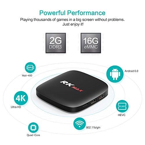 Bqeel RK Max Android 6.0 TV Box [2G + 16G] Quad core Cortex A7 Wi Fi 802.11b/g/n Ethernet 10/100M Soporta 4K smart tv box