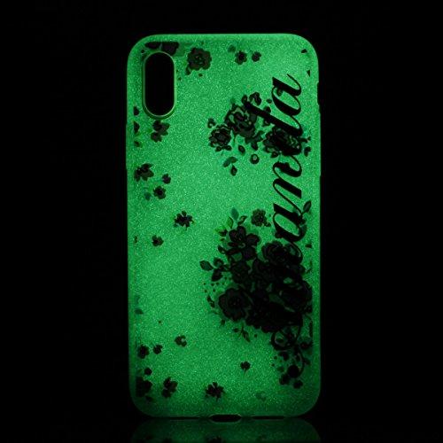 inShang iPhone X 5.8 inch Housse de Protection Etui [Transparent iPhone X 5.8 inch Coque] [Luminous dans l'obscurité]], Ultra mince et léger Case Cover de protection+ Qualite inShang Logo Pens Haute S Floral