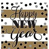 erdbeerloft - Silvesterdekoration Tisch 16 Stk. Nachtisch Serviette Happy New Year, Mehrfarbig