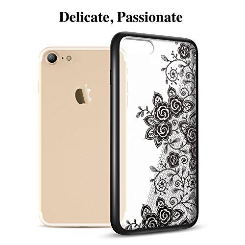 Coque iPhone 7 Mandala, ESR iPhone 7 Coque Silicone Transparente Motif Dentelle Fleur Imprimé, Housse Etui de Protection Bumper Premium [Anti Choc] [Ultra Fine] [Ultra Léger] pour Apple iPhone 7 4,7 p Rose Noire