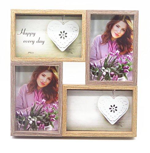 Smiling Art Bilderrahmen Fotorahmen Collage für 4 Fotos, Foto Collage aus MDF Holz mit Glas (Braun+Dunkelbraun, 4x10x15 cm) (Bilderrahmen Glas 4x6)