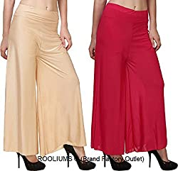 Rooliums Womens Trendy and Stylish Palazzo Pack of 2 (Beige,Pink, Free Size)