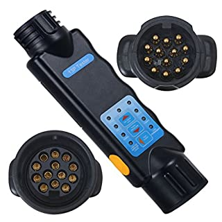 Voilamart Prüf-/Testgerät 13-13 Polig Anhängerbeleuchtung Testen Gerät Messgerät 12V exkl. 9V Batterie Dose Anhängerbeleuchtung Trailer Tester