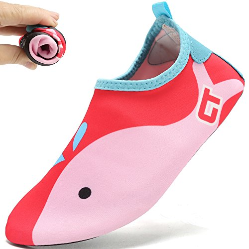 DADASIY Mutifunctional Barefoot Shoes Men Women and Kids Quick-Dry Water Shoes Lightweight Aqua Socks For Beach Pool Surf Yoga Exercise 2.red