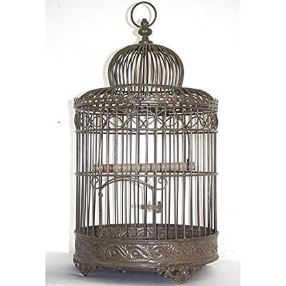 Antique Brown Iron Round Garden Outdoor Small Bird Cage 17x17x36cm 1