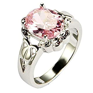 AmDxD Jewelry 18K Gold Plated Women'Fashion Figure Rings Claw CZ Pink US Size 6