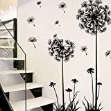 Kasit Black Creative PVC Dandelion Blume Pflanze Baum Große Abnehmbare Home Wandtattoo