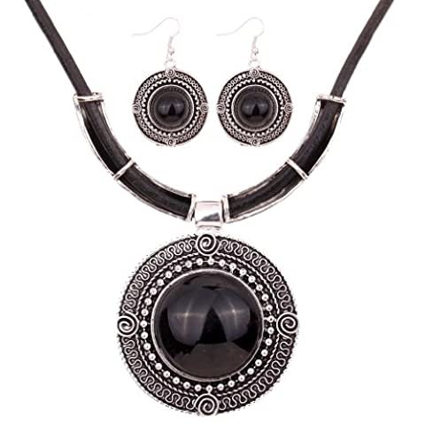 Yazilind Vintage PU Leather Chain Tibetan Silver Black Round Turquoise Pendant Bib Statement Necklace Earrings Set Wedding Party for Women