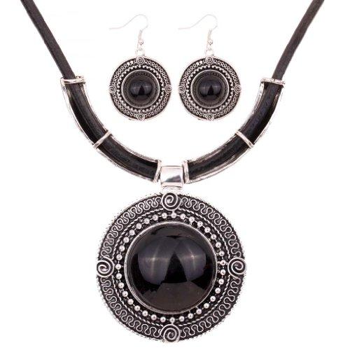 Yazilind Weinlese PU- Leder-Kette tibetischen Silber Schwarz Runde Anhanger Bib Halskette Ohrringe Set Hochzeit