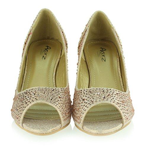 Femmes Dames Peeptoe Diamante Embelli Talon Compensé Milieu Soir Fête Mariage Bal de Promo De Mariée Des sandales Chaussures Taille Champagne