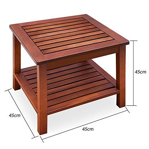 Deuba Table d'appoint vorgeölt Bois d'acacia Table de Jardin Table Basse Table en Bois Table en Bois 45 x 45 x 45 cm