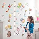 ZXFMT Adesivi Murali Parete Simpatico Elefante con Palloncino Cartoon Animali Adesivi Murali Altezza Righello Misura per Camera dei Bambini Art Home Decalcomanie