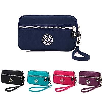 XUEREY Dual Layers Zipper Purse Waterproof Nylon Wristlet Bag Clutch Handbag Cell Phone Pouch
