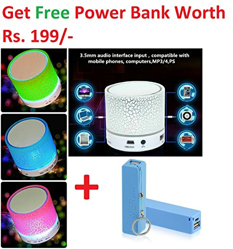 Rechargeable Bluetooth Speaker WITH LED Wireless Audio Receiver Outdoor, Home Theatre Portable USB MP3 Player Stereo Surround Loud Mini Radio Bluetooth Speaker Speakers with Light Support TF Card and Aux with MIC and Phone Call Receiving Feature (Get Mobile 2600 mAh Power Bank worth Rs 299 FREE & 180 days Replacement Warranty) Assorted color  available at amazon for Rs.349