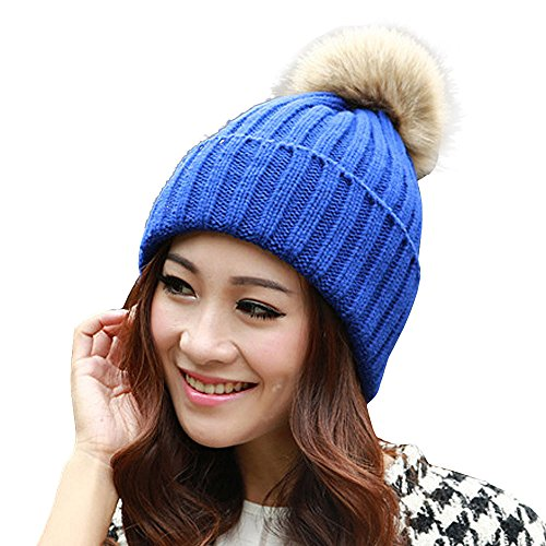 Blau Stricken Hut-set (Damen Beanie Fellball Gehäkelte Strickmütze Frauen Häkeln Frauen warme Knit Skifahren Mütze Gehäkelte Slouchy Wollmütze Slouchy Caps Hut Strickmütze (Blau))