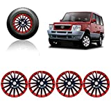 #2: Auto Pearl - Premium Quality Car Full Wheel Cover Caps Red and Black 15 Inches Press Type Fitting For - Tata Sumo Victa