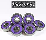 8x SUPERSLICKS Super Fast ABEC 11 608RS Rubber Seal Skateboard Wheel Bearings - Purple - *FREE STICKERS*
