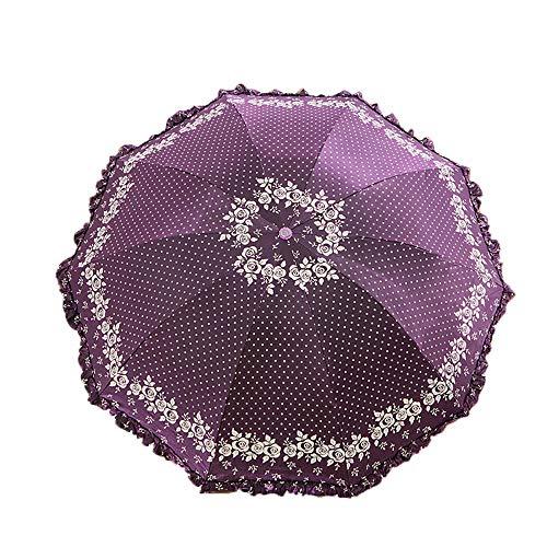 TOSBTD Reiseregenschirm, kompakter Faltbarer Sonnenschutz und Regenschirm mit Spitze und tragbarer Regenschirmtasche für Damen und Damen,deeppurple