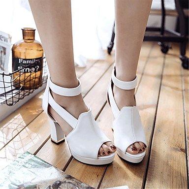 LvYuan Sandali-Matrimonio Formale Casual-Comoda Innovativo Club Shoes-Quadrato-Materiali personalizzati Finta pelle-Nero Rosso Bianco White