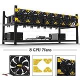 Open Air Mining Rig Aluminium stapelbar Rahmen 8 GPU Fall mit 7 Fans Dual Power für Eth/etc/zcash/monero/BTC Hervorragende Luft Konvektion Design