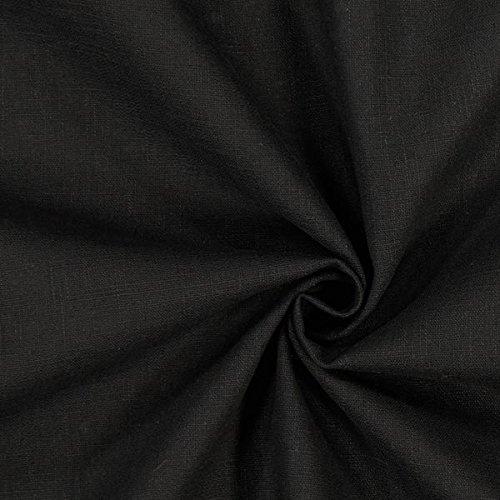 Fabulous Fabrics Leinenstoff mittelschwer, schwarz - Leinenstoffe zum Nähen von Leinenhosen, Freizeithemden, Leinenkleider und natürliche Dekoration - Meterware ab 0,5m -