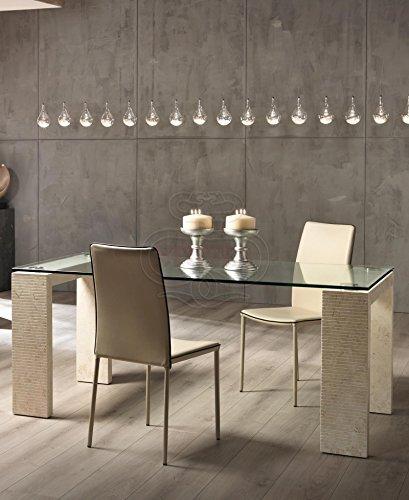 Tavoli Eleganti Moderni.Tavolo Da Pranzo In Cristallo E Legno Pietra Elegante Cucina