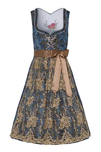 Stockerpoint Damen Midi Dirndl 70er blau taupe bestickt Minna 004111, Größe 46