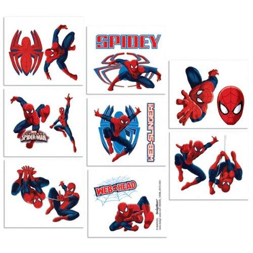 Spiderman 16 Stk Tattoos - Kindertattoos 16 Hauttattoos Spiderman und Symbole