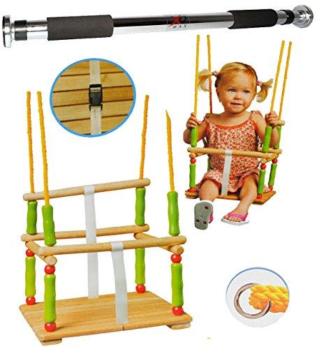 alles-meine.de GmbH 2 TLG. Set: Schaukel aus Holz + Türreck - Gitterschaukel mit Gurt - Babyschaukel Kinderschaukel - Sicherheitsgurt Holzschaukel Baby Kinder / Kleinkindschaukel..